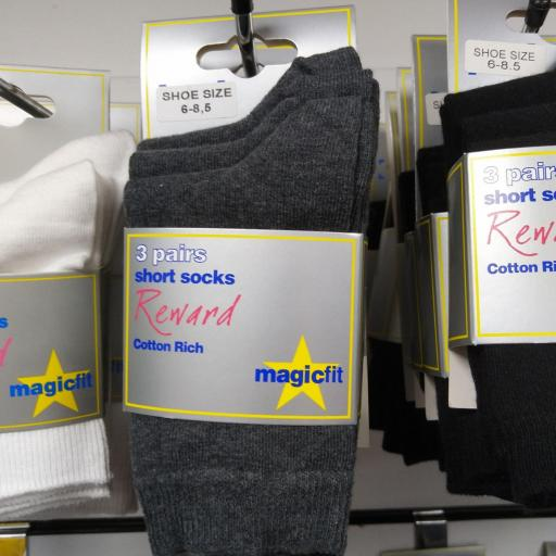 Short Grey School Socks, pack of three pairs